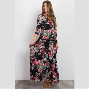 Pink Floral Sash Tie Maternity Dress